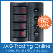 4 Gang Deluxe Led Rocker Waterproof Switch Panel And Circuit Breakers -marine/boat
