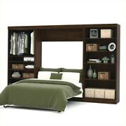 Bestar Pur 131 Full Wall Bed With 2 Piece Storage Unit In Chocolate