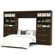 Bestar Pur 131 Full Wall Bed With 2 Piece 6-drawer Storage Unit In Chocolate