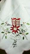 72x144 Large Embroidery Embroidered Christmas Polyester Tablecloth 12 Napkins