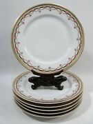 Antique Tandv Limoges France Pink Roses Garland Swags 6 Luncheon Plates