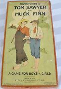 Antique Game Board Adventures Of Tom Sawyer And Huck Finn Boxed
