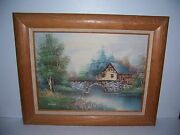 Vintage Framed Oil Painting On Canvas Of Old Mill And Bridge Signed Nathan
