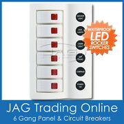 6 Gang White Deluxe Led Rocker Switch Panel And Circuit Breakers - Boat/marine/rv