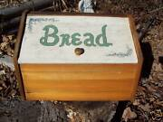 Vintage Country Kitchen Wood Bread Box Flowers Wooden Primitive Breadbox