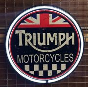 Triumph Motorcycles 800mm Diameter Neon Sign Perfect With Harley Bsa Norton