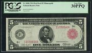 Fr840b 5 1914 Red Seal Frn Minneapolis Pcgs 30 Vf Ppq Only 79 Recorded Wlm3327
