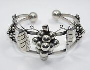 Rare Signed 40's Quinto Taxco Grape Cluster Sterling Cuff Bracelet 32g