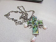 Stunning Barry Brinker Sterling Silver Cross Necklace Pearls And Abalone 36 In.