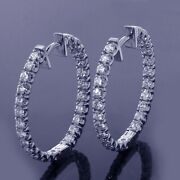 2.50 Ct Tw Inside/outside Round Diamond Hoops In 14k White Gold New