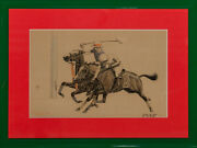 Two C1930s Polo Players Drawn On Stone 4/100 By Paul Brown