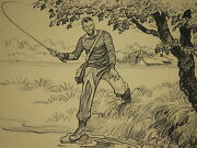 Paul Brown Calendar April 1945 'fly Fishing' For Brooks Brothers