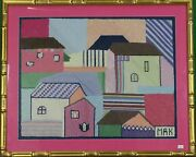 Hand-needlepoint Houses W/ Gilt Bamboo Frame C.1960and039s From A Palm Beach Estateand039