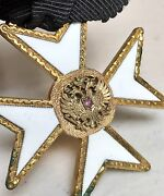 Genuine Russian Enamel Imperial Monarchy Union Medal Pin Badge Cross 1st Step