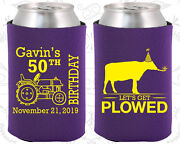 Personalized 50th Birthday Party Gifts Koozie 20037 Farm Birthday, Tractor