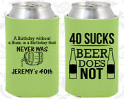 Personalized 40th Birthday Party Gifts Koozie 20247 40 Sucks, Beer Does Not