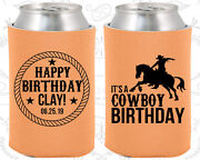 Personalized Birthday Party Gifts Koozie 20297 Happy Birthday, Cowboy, Country