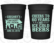 Personalized 60th Birthday Party Favor Cups Custom Cup 20217 Bbq, Barbecue