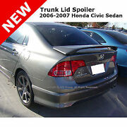 For Honda Civic 4d 4d 06-11 Abs Trunk Rear Wing Spoiler Unpainted Smooth Primer