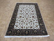 5'11 X 9'2 Hand Knotted Ivory Black Persian Tabriz With Silk Oriental Rug G5229