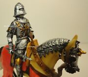 4.25 Medieval Times Crusades Knight Gold Maltese Cross And War Hammer On Horse