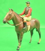 Britains English C.1940and039s Jockey In The Racing Colours Of The Queen W/ Racehorse