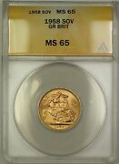 1958 Great Britain Sovereign Gold Coin Anacs Ms-65 Gem Bu A