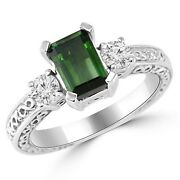 Green Tourmaline And Diamond 3 Stone Engagement Ring 14k White Gold Antique Style