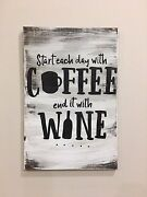 Large Coffee And Wine Rustic Wood Sign, Farmhouse Style, Home Decor, Handmade