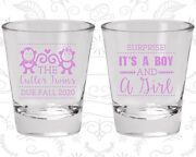 Baby Shower Shot Glasses Glass Favors 90063 Twins, Monkey, Boy And Girl