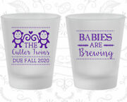 Baby Shower Shot Glasses Glass Favors 90068 Babys Are Brewing, Twins, Monkey