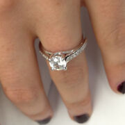 14k White Gold Pave Enhanced Diamond Ring 1.26 Ct Weight Round D Si