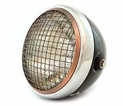 7 Side Mount Motorcycle Headlight W/ Grill - Gloss Black Chrome Bronze - Clear