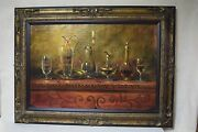 Original Signed Oil Painting By Timeless Treasures - Wine Glass Decanter Bottle