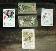 Lot Of 5 Antique Early 1900s Valentine Postcards Cards Embossed Cupid
