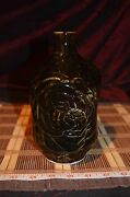 """Handmade Pottery Brown Vase Decorative Etched Design 7 3/4""""x4 1/4"""" Marked"""