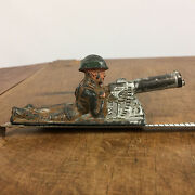 Vintage Metal Soldier With Machine Gun Army Military Manoil Barclay Toy Wwii