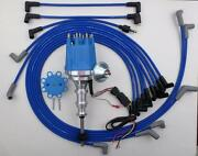 Small Cap Ford Y Block 256-272-292-312 Blue Hei Distributor + Spark Plug Wires