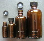 12 - 1/2 Ounce Oz 4 Dram 15 Ml Amber Glass Boston Round Bottles New
