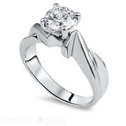 1.01 Carat White Gold 14k Diamond Ring Round Cut Vs1/f Wedding Bridal Enhanced