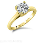 1.02 Ct Solitaire Engagement Diamond Ring Round Si2/d Yellow Gold 14k Enhanced