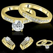 Vs2/d 1.17 Tc Yellow Gold Enhanced Round Bridal Diamond Ring Solitaire Accents