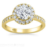 Wedding Round Enhanced Diamond Ring Solitaire Accents Vs1/d 1.5 Tcw Yellow Gold
