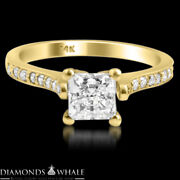 1.2 Tcw Princess Enhanced Diamond Ring Solitaire With Accents Si1/f Engagement