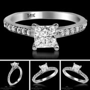 Princess Diamond Ring Vs1/f 1.11 Tcw White Gold Solitaire With Accent Enhanced