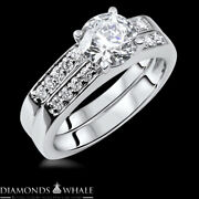 Solitaire With Accent 1.44 Tcw Diamond Enhanced Ring White Gold Vs1/g Round