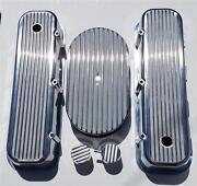 Bbc Chevy Finned Valve Covers And 15 Air Cleaner Polished Aluminum Breather Pcv