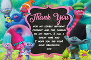 Personalised Trolls Film Birthday Party Thank You Cards + Envelopes Troll10ty