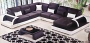 Contemporary Black White Leather Sectional Sofa Chaise Loveseat Coffee Table Set
