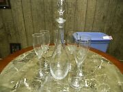Elegant Beautiful Baccarat Crystal Decanter With 6 Glasses